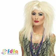 1980s BLONDE TRADEMARK CRIMP WIG LAYERED LONG ladies womens fancy dress costume