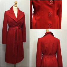 Fever London Ladies 40s Vintage Red Wool Knee Length Single Breasted Coat UK 10