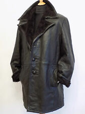 Sheepskin Style Leather Coat Gestapo Mafia Bomber Flying Jacket Fur lined