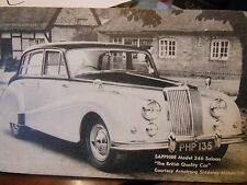 """VINTAGE RARE COLLECTOR CARD SAPPHIRE MODEL 346 SALOON """"THE BRITISH QUALITY CAR"""""""
