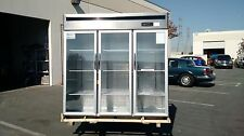 Restaurant commercial glass three doors stainless steel refrigerator