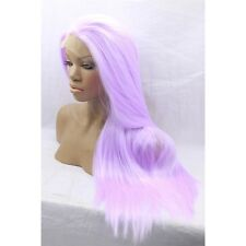 "18"" Long Straight Lavender Lace Front Wig Heat Resistant Synthetic Hair"