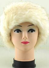 LADIES WOMENS ONE SIZE LUXURY FAUX FUR  FLEECE LINED EAR WARMER HEADBAND BEIGE