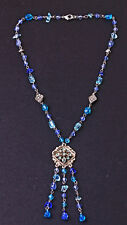FUN SILVER TONE NECKLACE SPARKLY BLUE BEADS SQUARE FLOWER CENTRE TASSELS (ZX27)