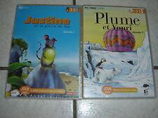 14686/ JEUX PC PLUME ET YOURI EPIS 2 + JUSTINE ET LA PIERRE DE FEU EPISODES 1 PC