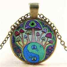 Vintage Mushroom Peace Sign Cabochon Glass Bronze Chain Pendant Necklace
