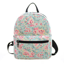 Womens Backpack PU Denim Lace Floral School Shoulder Bag Rucksack Canvas Travel