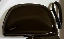 Laura Mercier black jelly patent leather WRISTLET Clutch Cosmetic Makeup Bag new