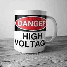 Danger High Voltage Funny Coffee Mug 11 oz White Novelty Gift Cup Humor