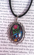 Beauty and the Beast Stained Glass Window Necklace. Cameo Pendant Choker