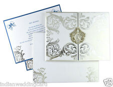 Luxury Blu Laser Cut Wedding Invitations Card Customized Printing Card D-7084