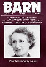 "D.J. WILLIAMS  - EUROS BOWEN - ROGER BOORE - WELSH MONTHLY ""BARN"" No 221 (1981)"