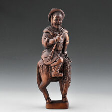 "3.5"" inch Japanese handmade Boxwood Netsuke ""Warrior On Horse"" Figurine Carving"