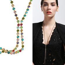 Swarovski Elemento Cristal Multicolor 14k Oro Plateado Collar Largo Cadena Joyas