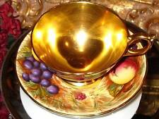 AYNSLEY SIGNED N. BRUNT ALL GOLD TEACUP HAND PAINTED FRUIT Cup & Saucer 1930's