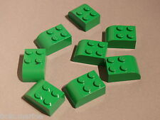 Lego 8 briques arrondies vertes set 7636 10693 79003 / 8 green brick curved