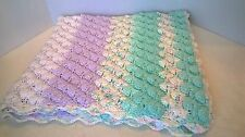 Handmade Baby Blanket Crocheted Shell Stitch Pastel Colors