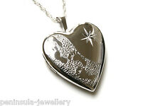 "SOLID Sterling Silver FOOTPRINTS Heart LOCKET PENDANT and 18"" chain, Gift Boxed"