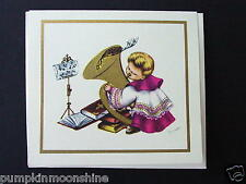 """Vintage  Unused Xmas Greeting Card """"The Music Maker""""  Golden Horn Music"""