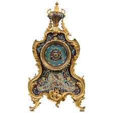 A French 19th Century Ormolu Bronze & Champlevé Enamel Regulator Mantel Clock
