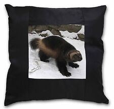 Wolferine in Snow Black Border Satin Scatter Cushion Christmas Gift, AGL-1-CSB