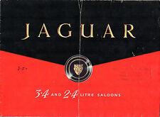 Jaguar 2.4 Litre & 3.4 Litre Mark 1 1958-59 UK Market Foldout Sales Brochure