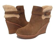 UGG ANAIS ANKLE BOOTS WEDGE BOOTIES BROWN CHESTNUT US 11 /EUR 42 /UK 9.5