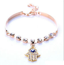 Vintage Fashion Crystal Rhinestone Gold Hamsa Hand Bracelet Bangle Cuff Jewelry
