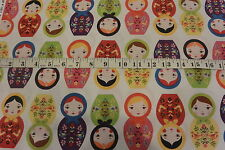 Russian Dolls Matryoshka Dolls Stripe Pattern Light White Cotton Fabric
