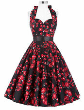 PLUS SIZE Vintage Women Ladies 50s Swing Pin Up Evening Party Cocktail TEA Dress