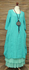 "LAGENLOOK LINEN 2 POCKETS LONG TUNIC-DRESS*TURQUOISE*BUST UP TO 44"" OSFA ITALY"