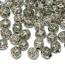 MBL7246L2 Antiqued Silver 6mm Round Drum w Circle Design Metal Bead 100/pkg