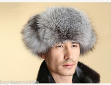 Men Real Fox Fur Russian Hat Trapper Ushanka Cossack Winter Warm Ski Furry Cap