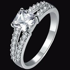 SZ 4 5 6 7 8 9 10 11 Rhodium Plated Wedding Engagement Propose Ring Promise Mom