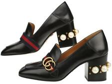 NEW GUCCI BLACK LEATHER DOUBLE G WEB DETAIL MARMONT PEARLS & STUDS SHOES 40