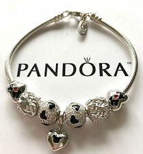 Authentic Pandora Silver Charm Bracelet With White Love Gray European Charms