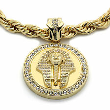 """Mens 14k Gold Plated XL Pharaoh Pendant with 10mm 30"""" Rope Chain"""