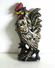 "Black and Gold Pottery Rooster Chicken Plaque Wall Hanging Decor 7.25"" FREE SH"