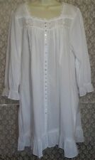 Eileen West L Button Robe Nightgown Cotton Lawn Long Sleeve White w Lace NWT