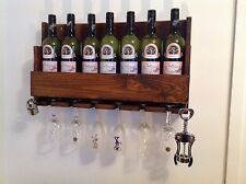 7 bottle hand made wooden Wine rack glasses holder bar pub club restaurant cafe: