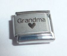 GRANDMA & BLACK HEART Italian Charm for 9mm classic starter bracelets I Love My
