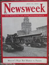 Newsweek Magazine  July 14,1941  *Red Blasters vs. Panzers*  GREAT ADS
