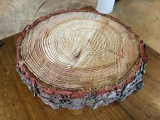 Christmas cake board, real rustic log stand 12""