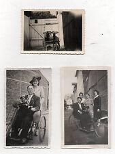 3 PHOTOS - Snapshot Vintage Handicap Handicapé Chaise Fauteuil roulant Vers 1940