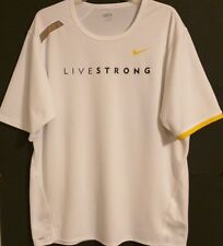 NIKE FIT DRY RN 56323 - LIVESTRONG-White/Yellow Swoosh Performance Tee-Mens: XL