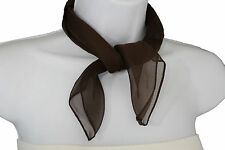 Women Fashion Neck Scarf Dark Brown Color Small Soft Fabric Square Pocket Sheer