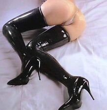 Sexy Black PVC Wet Look Fetish Rocky Horror 68cm Length stockings, UK Seller