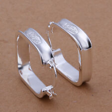 925 Stamped Sterling Silver Filled SF Square Hoop Earrings E-A499