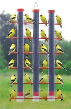Songbird Essentials 3 Tubes 24 Seed Ports Bird Feeder Finches Red Plastic Caps