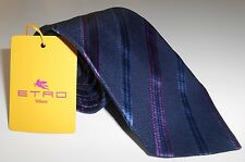 """NWT ETRO TIE Wool and Silk Blue Violet 3.15"""" made in Italy Regimental"""